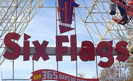 Six Flags custom light box logo sign made of aluminum and acrylic for the theme park branding