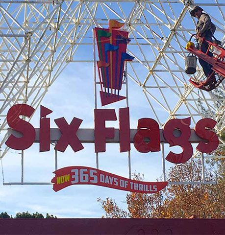 six flags light box sign