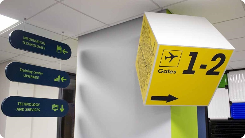 airport decorative directional event sign