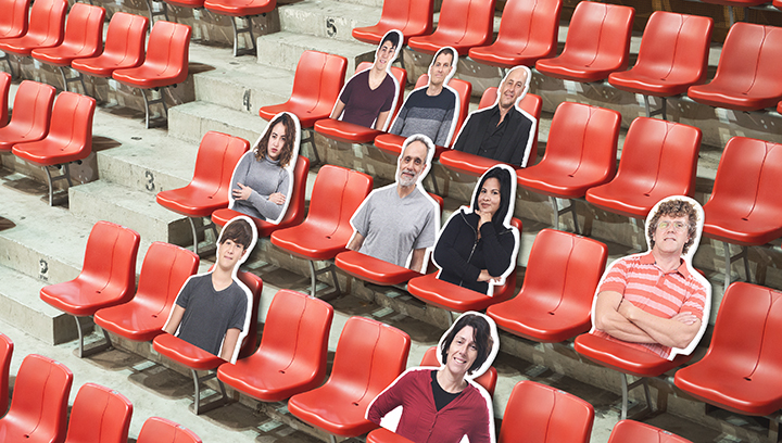 custom stadium human cut-out signs displayed on red seats