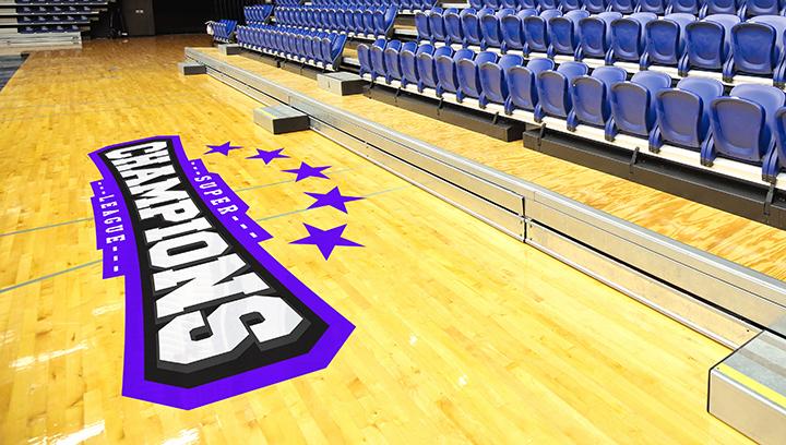 Super Champions stadium floor graphics with a purple highlight for interior branding