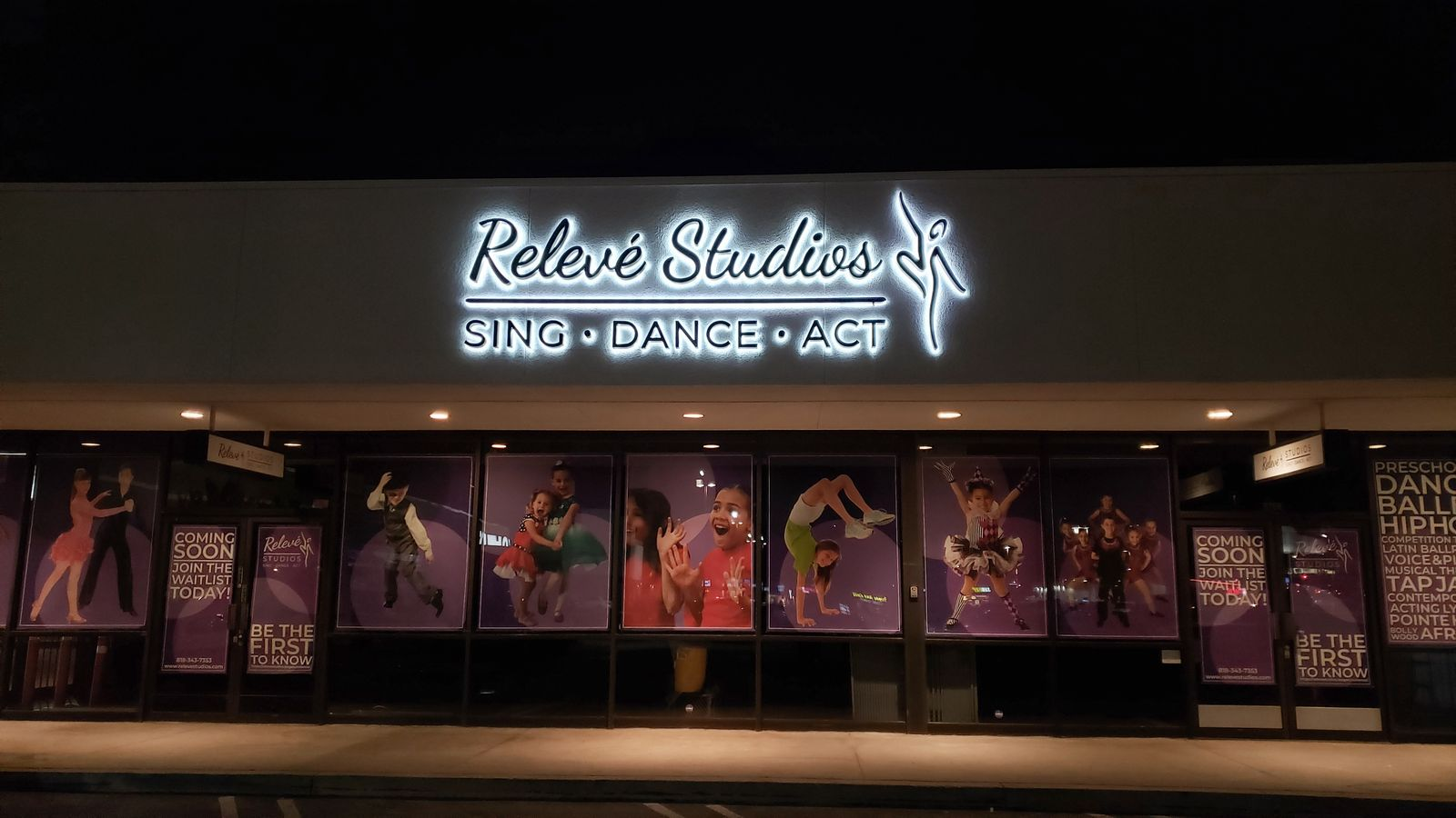 Releve Studios backlit 3d sign with the company name and logo made of aluminum for branding