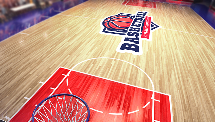 basketball arena sign in red and blue colors displayed on the floor