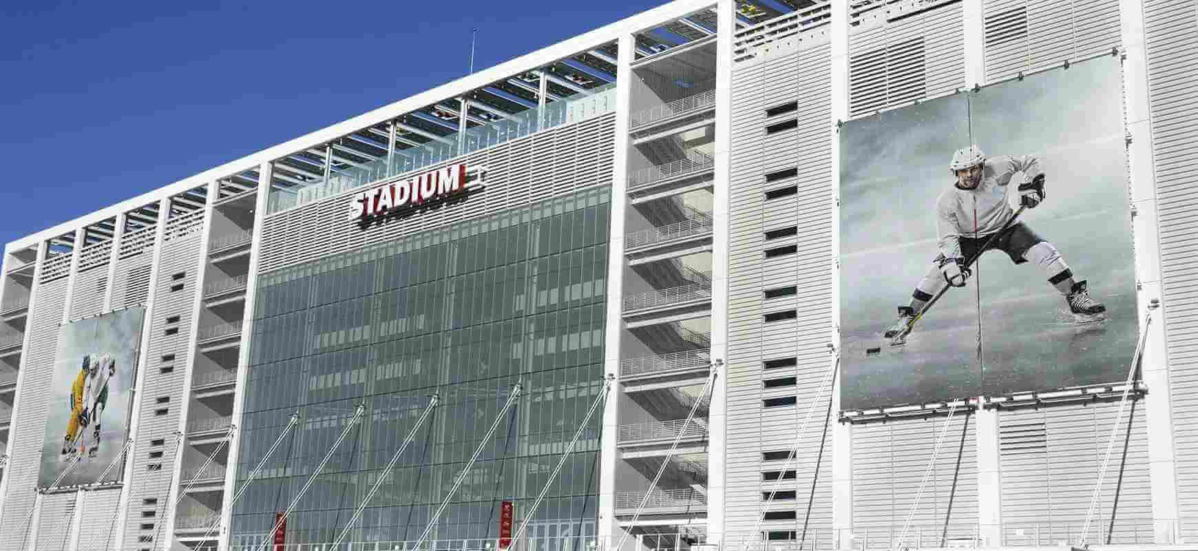 custom stadium signage displayed on the building facade