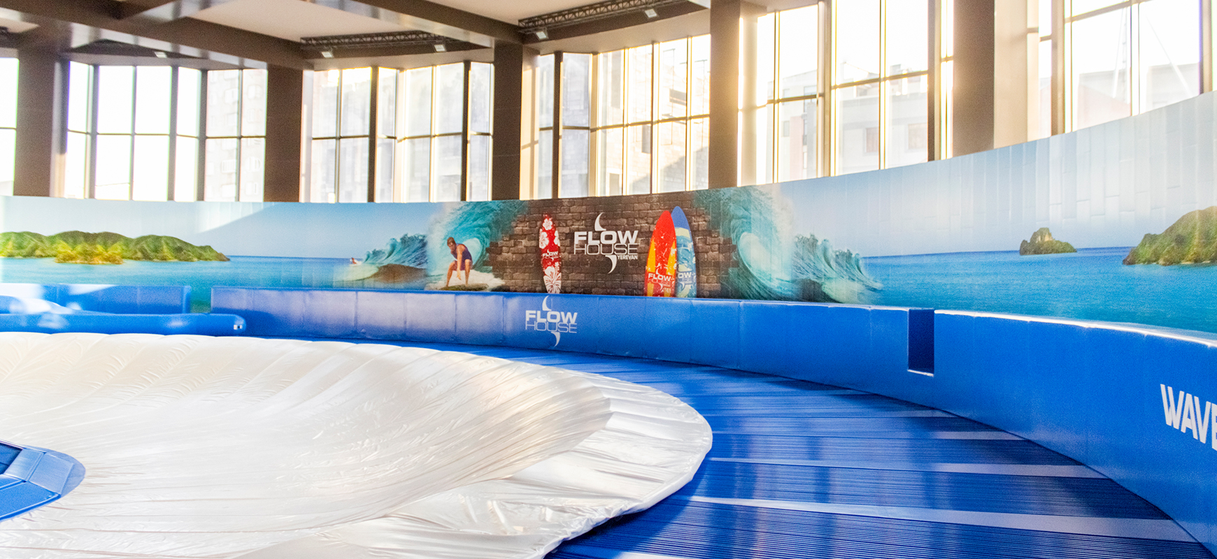 Flow House arena graphics in large sizes made of opaque vinyl for decorating walls