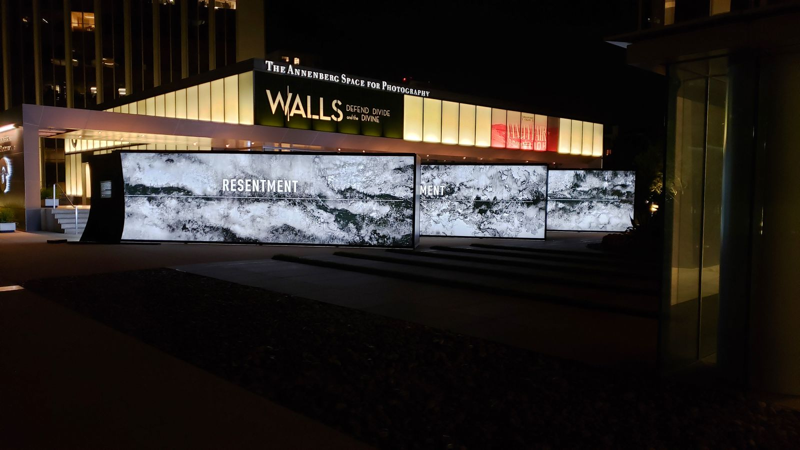 Annenberg large light boxes displaying black and white graphics made of aluminum and acrylic for exhibition event branding