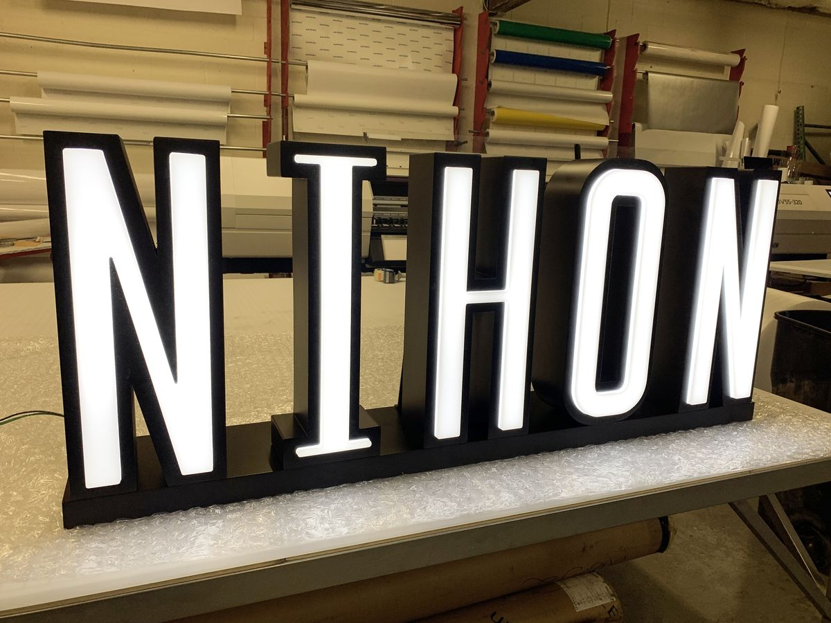 Nihon front-lit 3d sign letters with a stand made of aluminum and acrylic