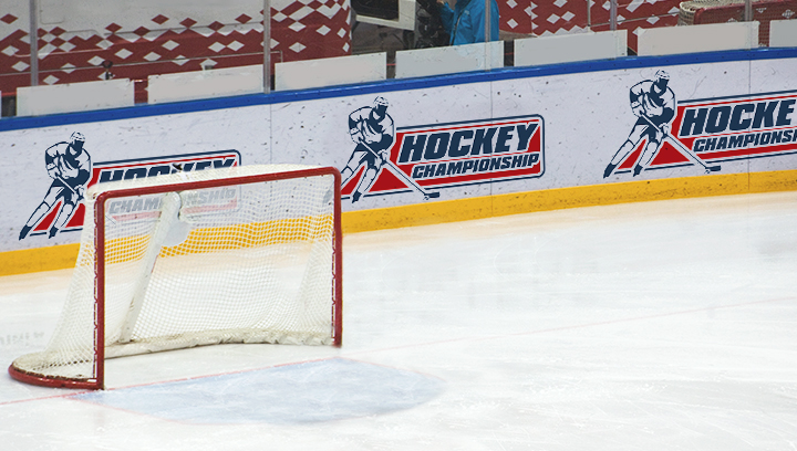 hockey rink signage displaying championship graphics