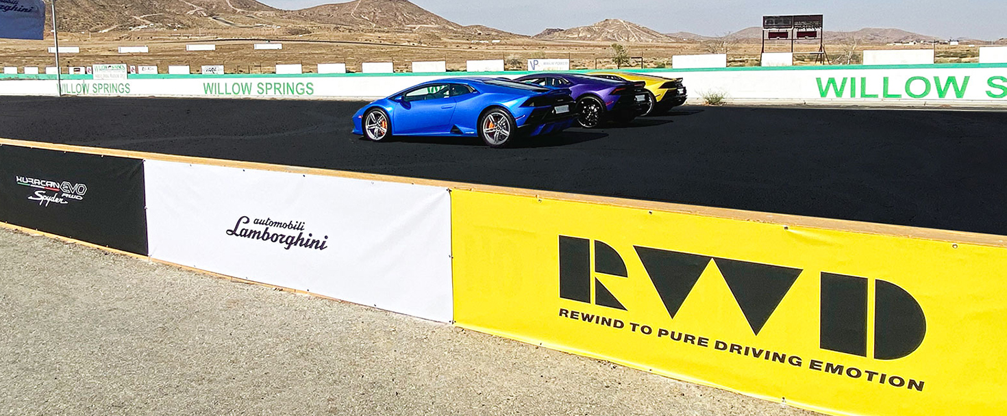 Lamborghini stadium graphics made of vinyl for race track branding