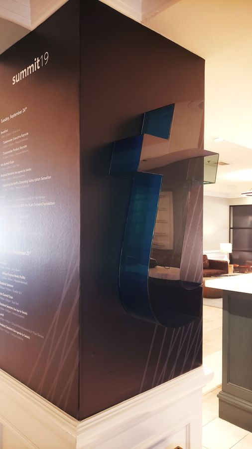 Ticketmaster 3d acrylic letter in a large size showcasing the company logo fixed to the wall