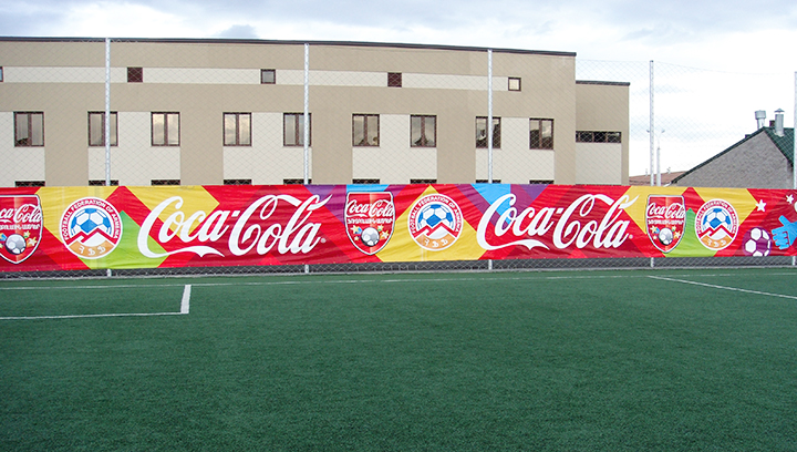 Coca Cola outdoor stadium sign in a big size made of vinyl for displaying sponsorship