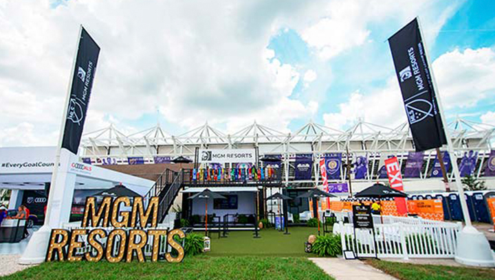 MGM Resorts stadium branding signage with marquee letters made of aluminum