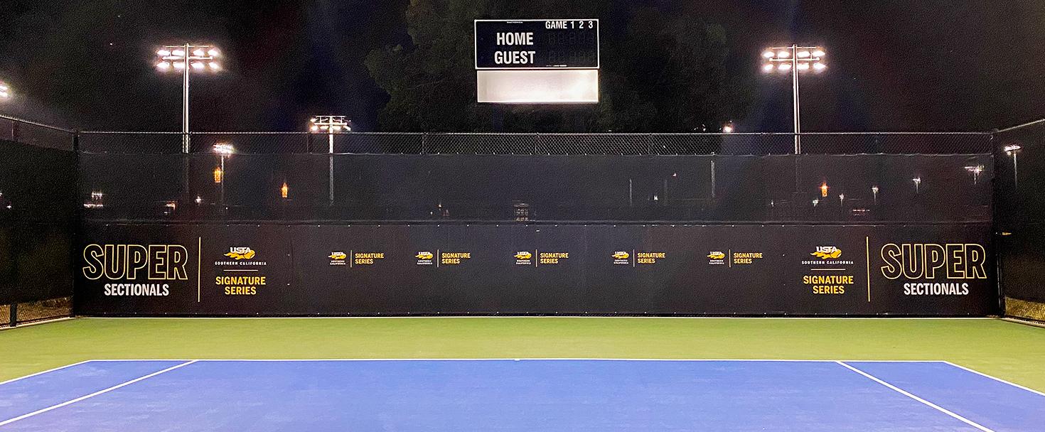 USTA stadium graphics in black made of vinyl for sports event branding