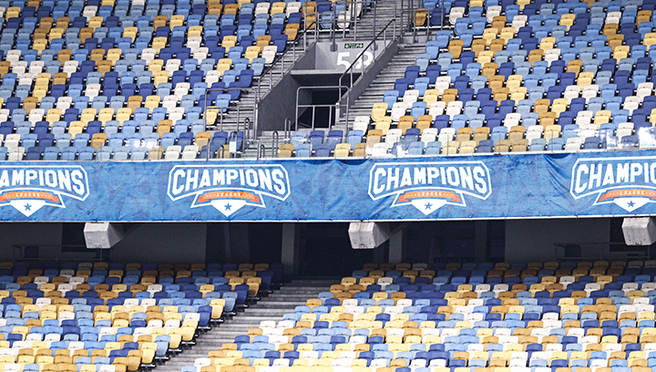 Champions League stadium field banners in blue for the arena branding