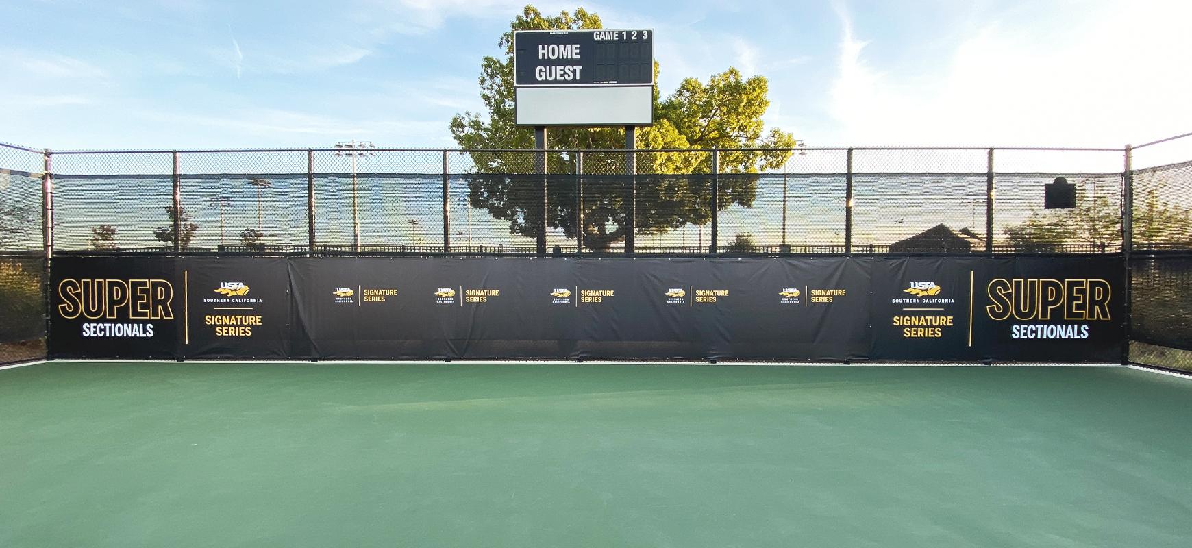 USTA stadium graphics made of vinyl for tennis court branding