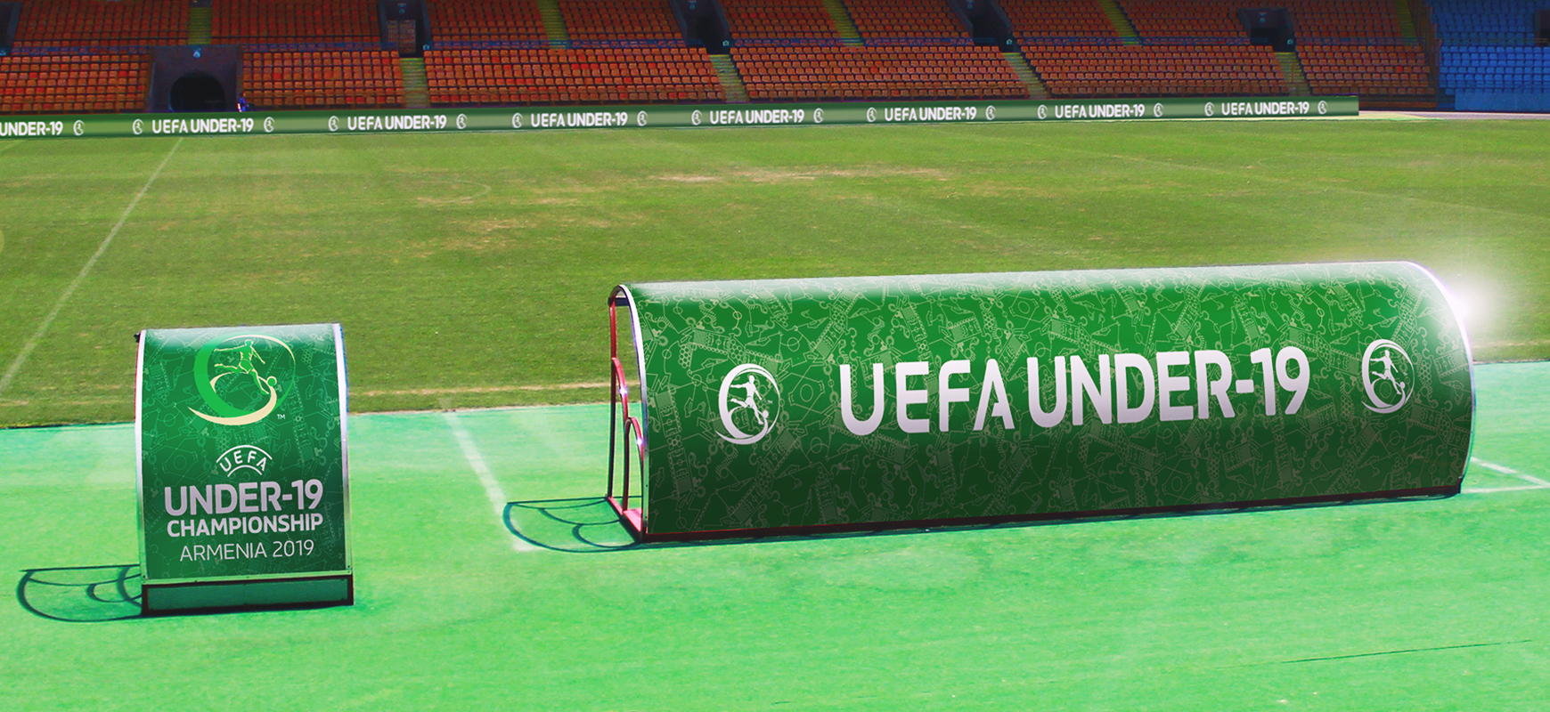 UEFA arena signs displaying the championship name and logo made of vinyl