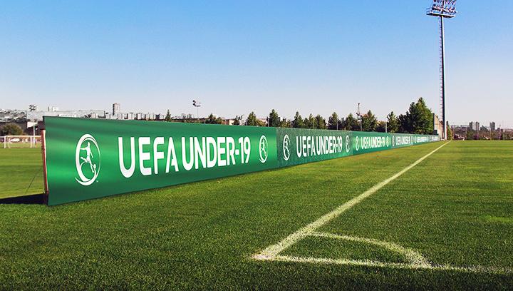 UEFA football stadium sign displaying the championship name made of vinyl