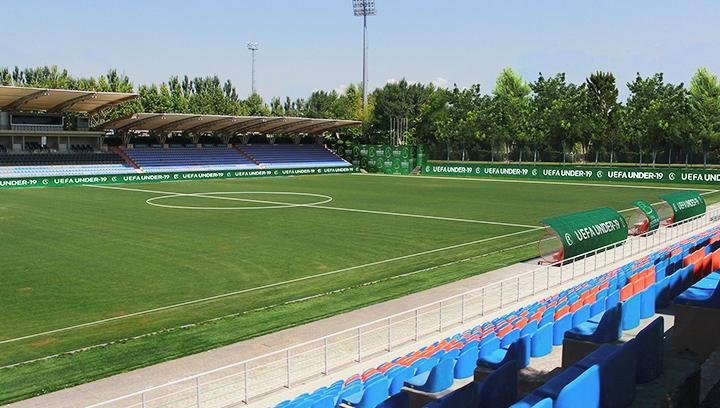 UEFA sports stadium signs in green made of vinyl for full branding