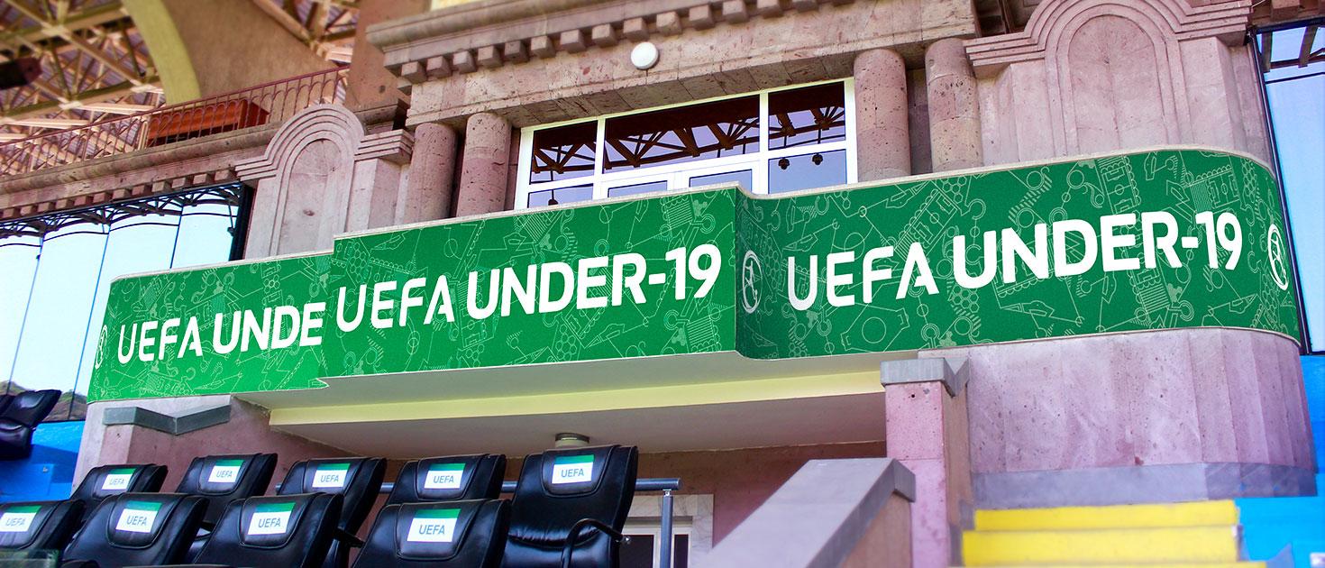 uefa under-19 football stadium balcony sign