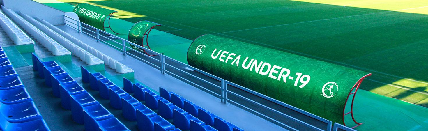 uefa under-19 football stadium canopy sign