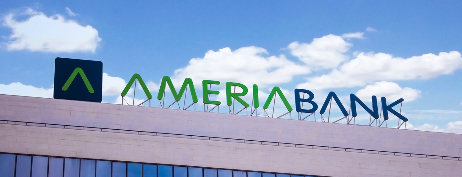 Ameria bank building top channel letters