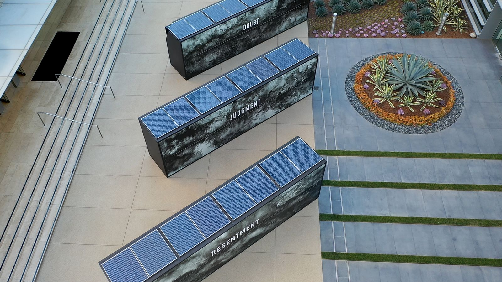 Annenberg exterior light boxes in a large size powered with solar energy made of aluminum and acrylic for event branding