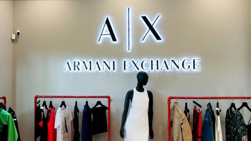 Armani exchange backlit letters