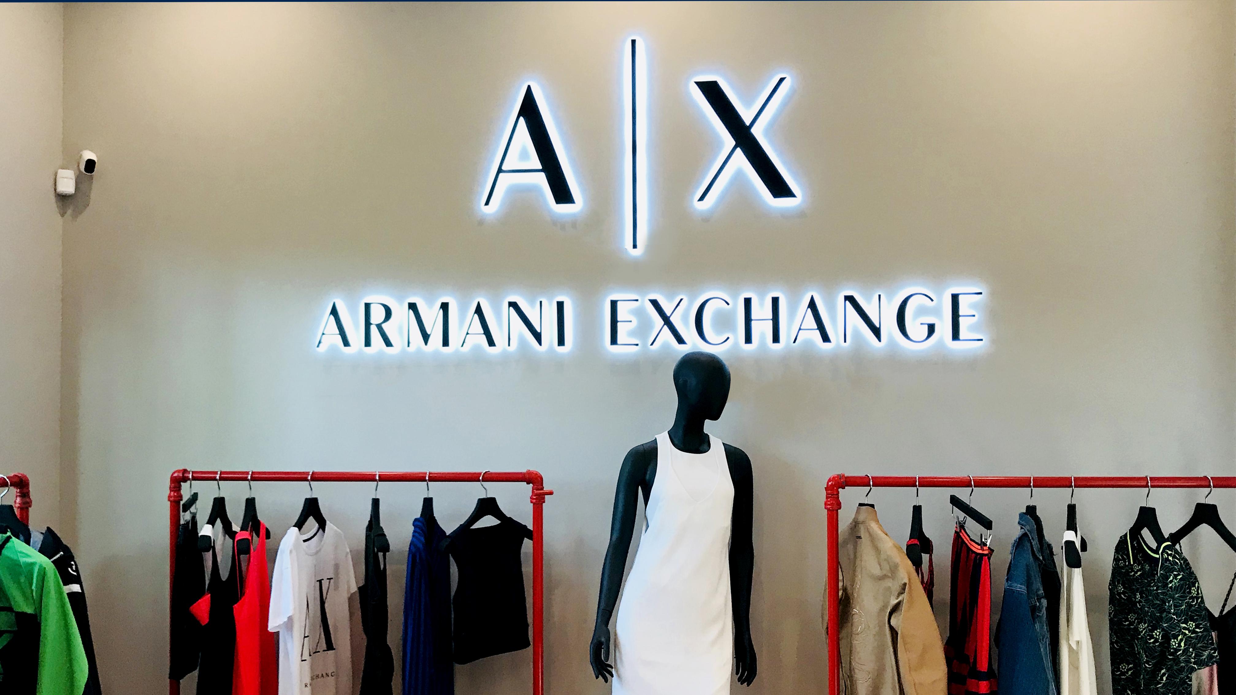 Armani exchange backlit letters