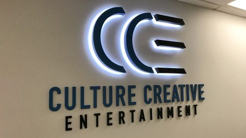 Culture Creative Entertainment 3d office sign made of aluminum and acrylic for branding