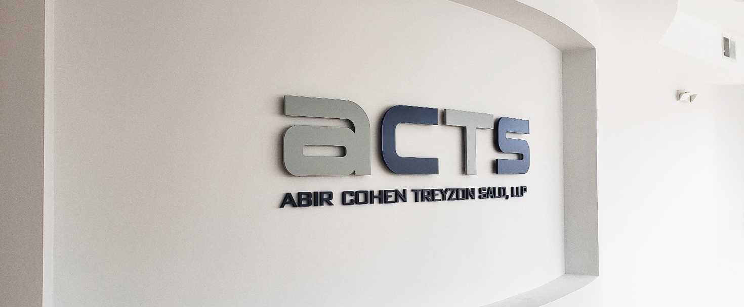 Acts dimensional bank sign displaying the company name made of acrylic for wall branding