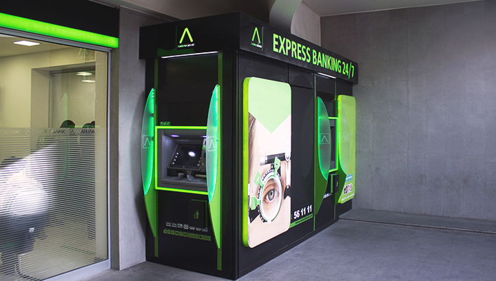 Ameriabank atm signs and wraps displaying branded graphics made of acrylic and aluminum