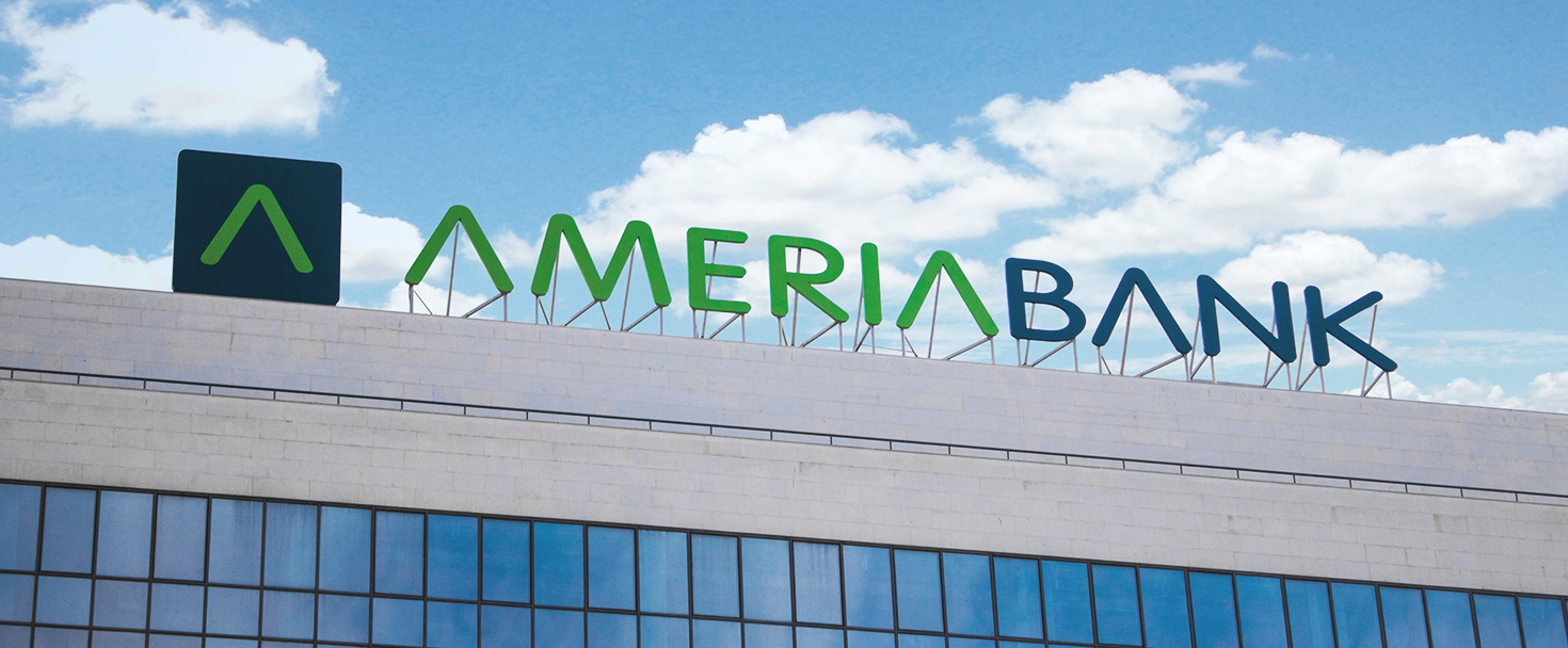 Ameriabank signage with brand name channel letters and logo made of aluminum and acrylic