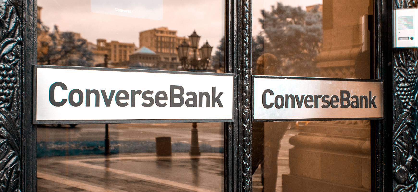 Converse Bank signage displaying the brand name made of aluminum