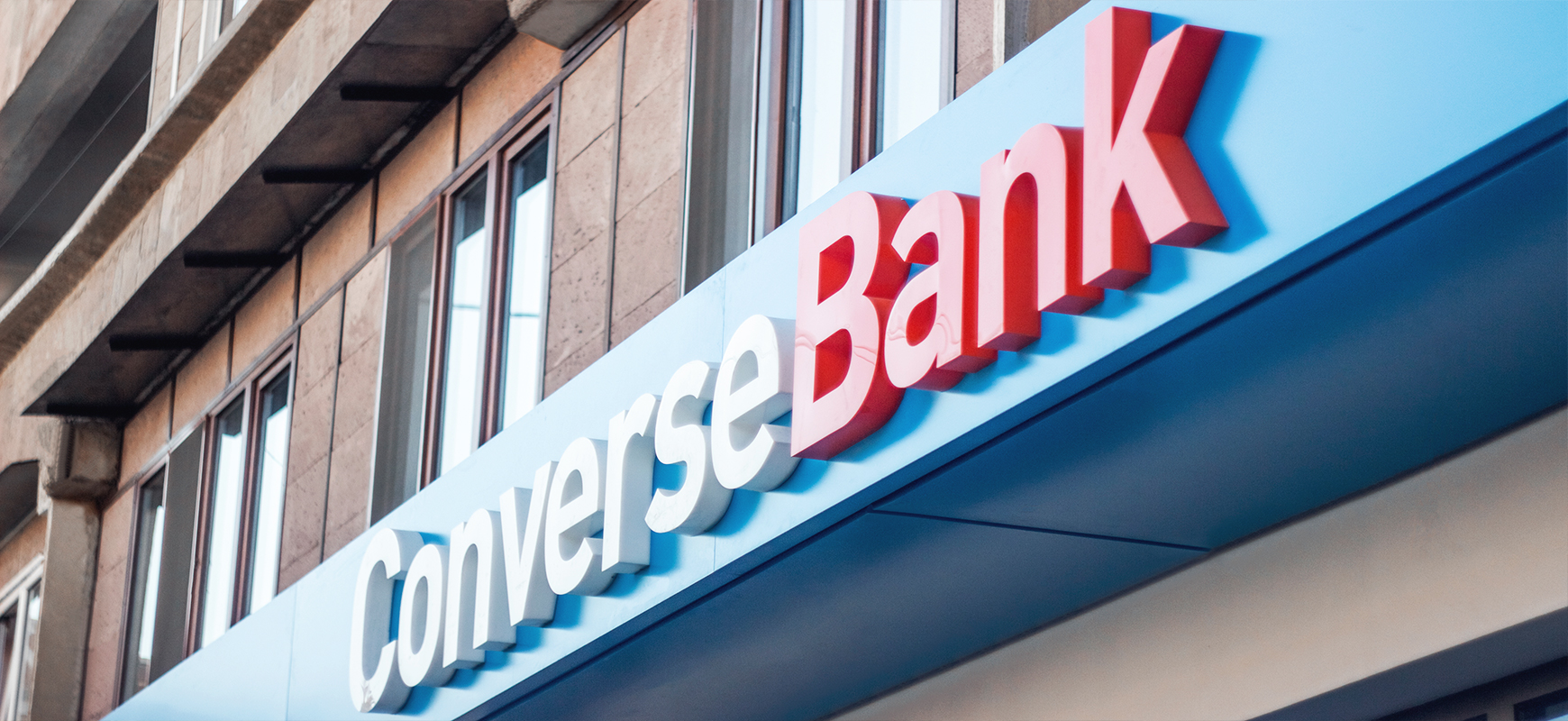 Converse Bank signage with brand name lighted letters made of aluminum and acrylic