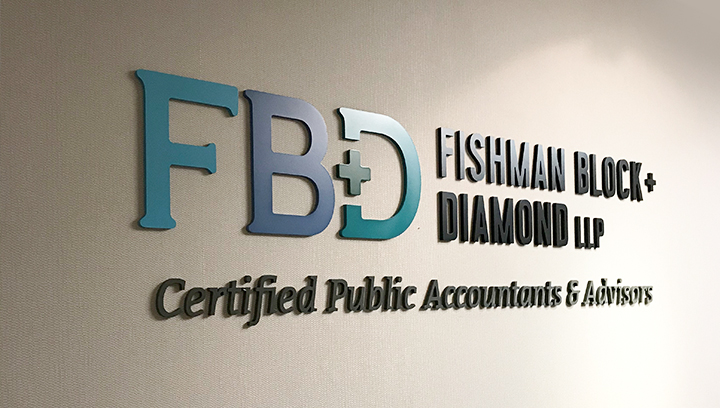 FBD 3d bank sign displaying the brand name and logo made of PVC for wall branding