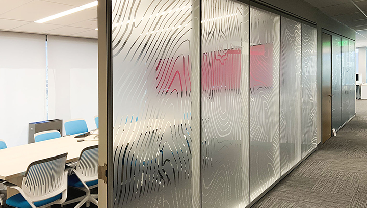 privacy bank lobby sign with custom graphics made of frosted vinyl attached to windows