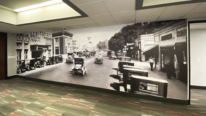 retro-style bank graphics made of opaque vinyl for office wall decorating