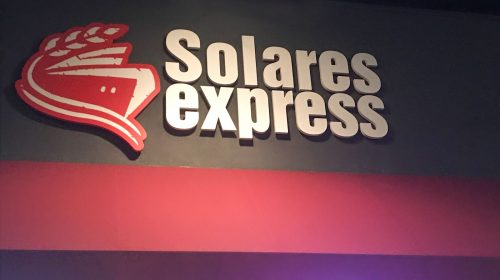 Solares Express 3d plastic letters painted in white and logo sign painted in red made of PVC