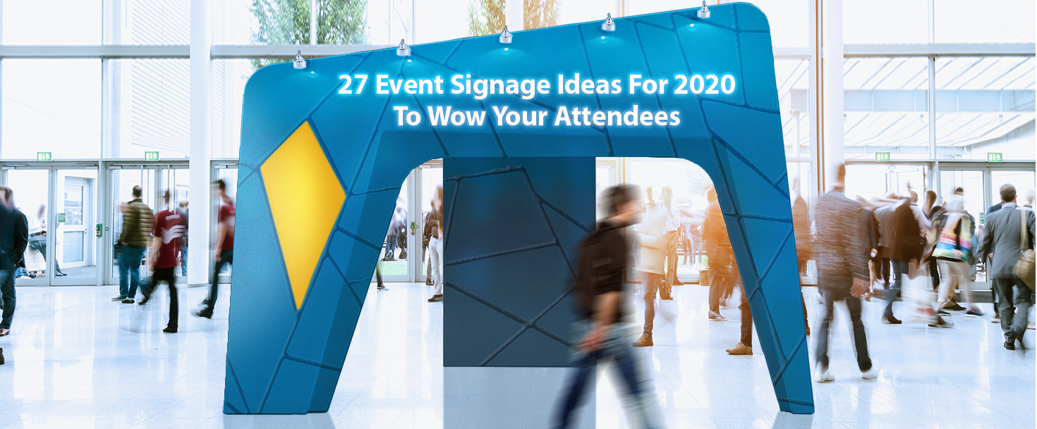 Crowded event entrance signage