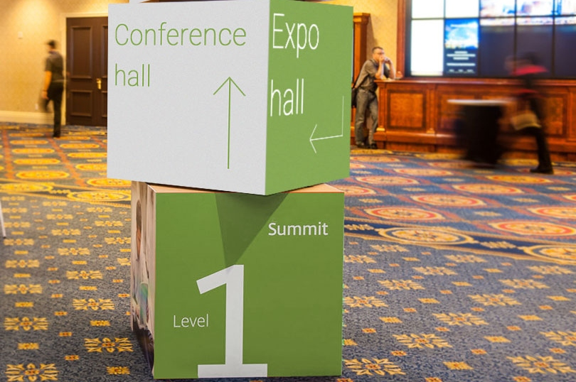 Expo hall this way event signpost idea