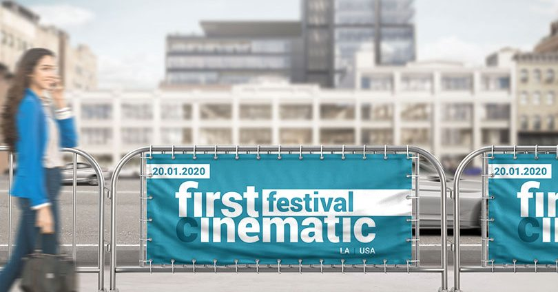 First Festival Cinematic event branding idea with barriers