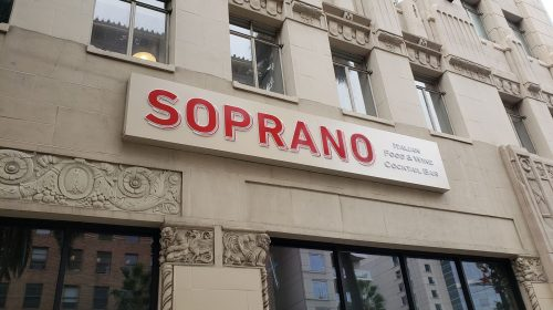 Soprano restaurant illuminated sign