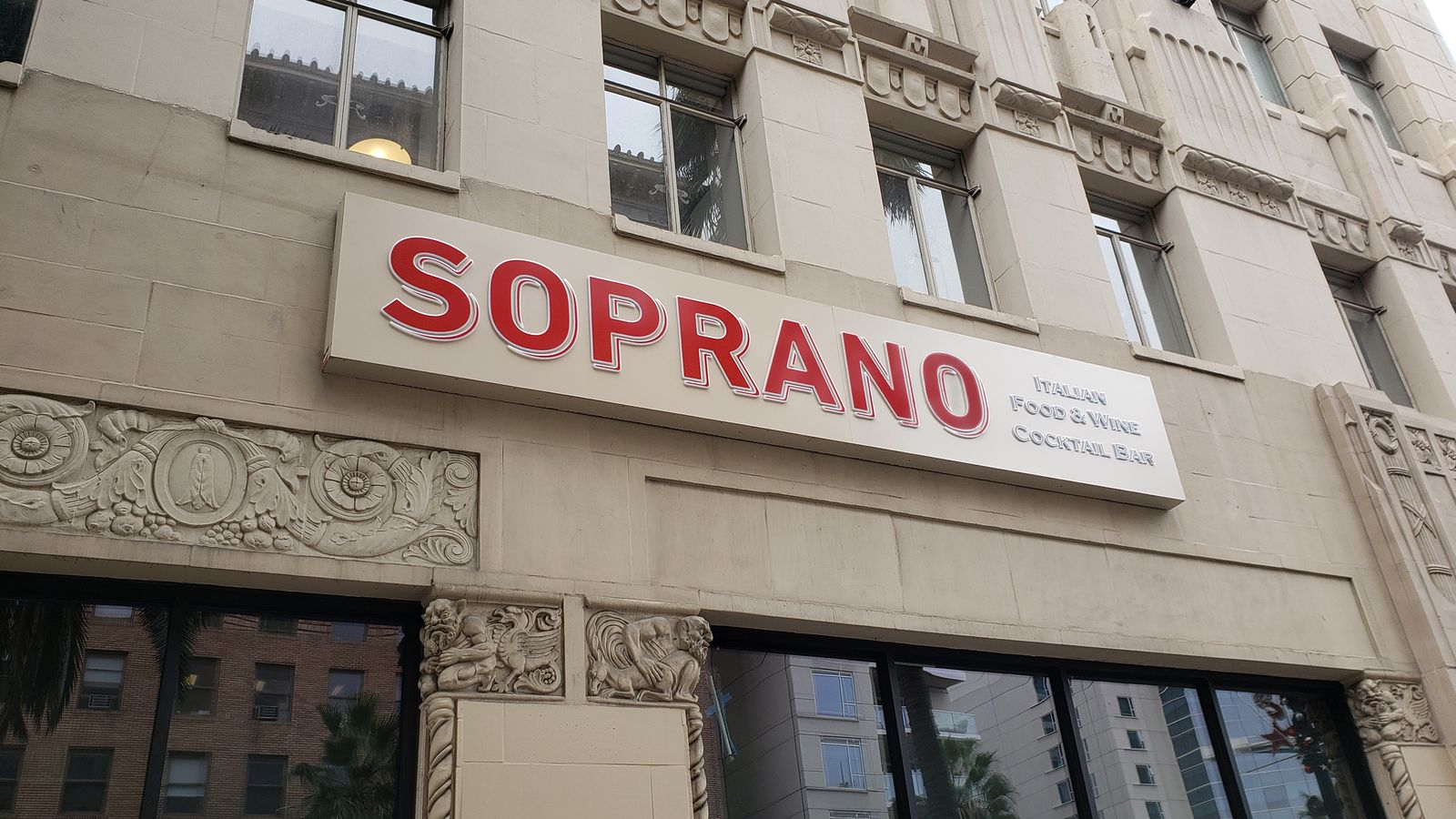 Soprano restaurant illuminated sign