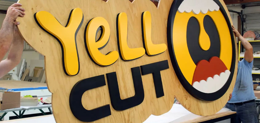 Yell Cut wooden board signage idea for event branding