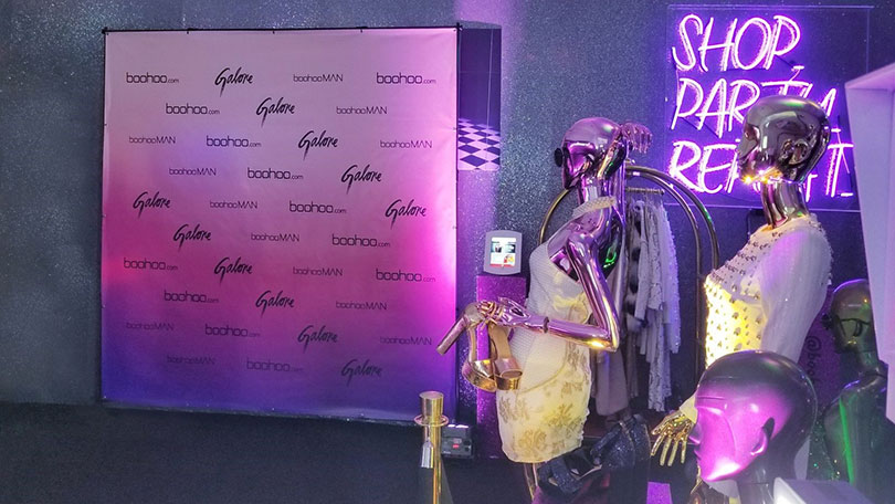 Boohoo,Galore event sponsored backdrop idea-FrontSigns