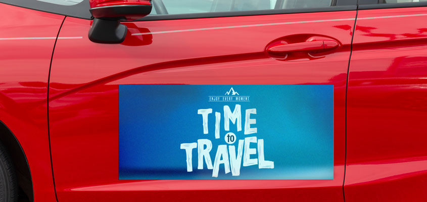 Creative event branding idea with a car magnet from Time Travel