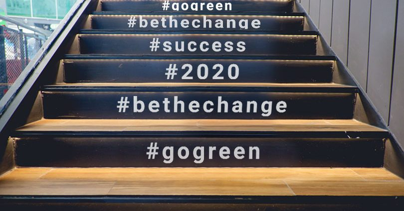 stair wraps with hashtags event branding idea