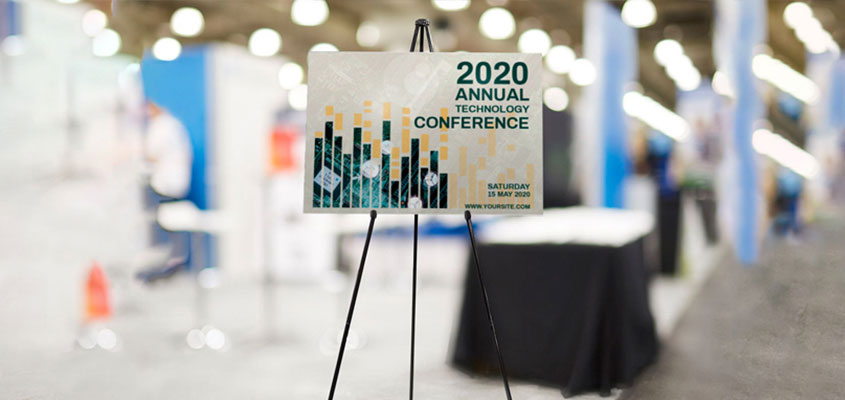 trade show booth design tip showcasing 2020 Annual Technology Conference board example