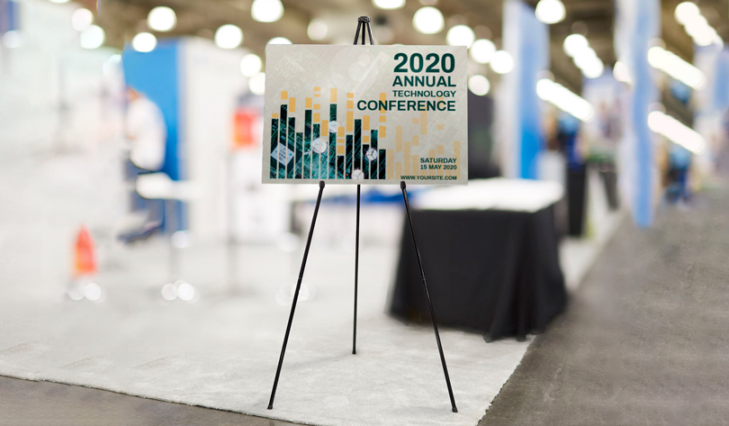 2020 Annual Technology Conference trade show booth example with foamboard