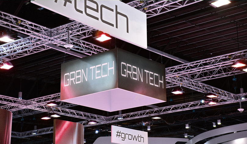 GRBN TECH trade show booth design example with a hanging sign